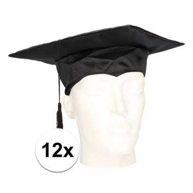 12x geslaagd hoedje / geslaagd baret voor volwassenen
