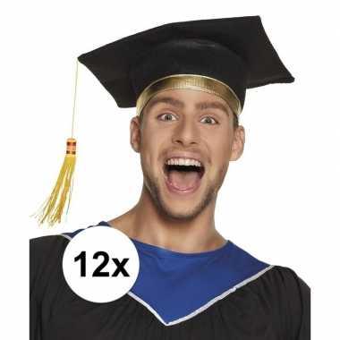 12x geslaagd hoedje / geslaagd hoedje voor volwassenen