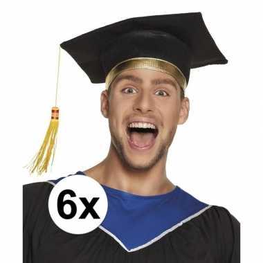 6x geslaagd hoedje / geslaagd hoedje voor volwassenen