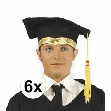 6x luxe geslaagd hoedje / geslaagd hoedje met gouden details