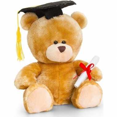 Afstuderen/diploma behaald knuffel beer cadeautje 20 cm met geslaagd
